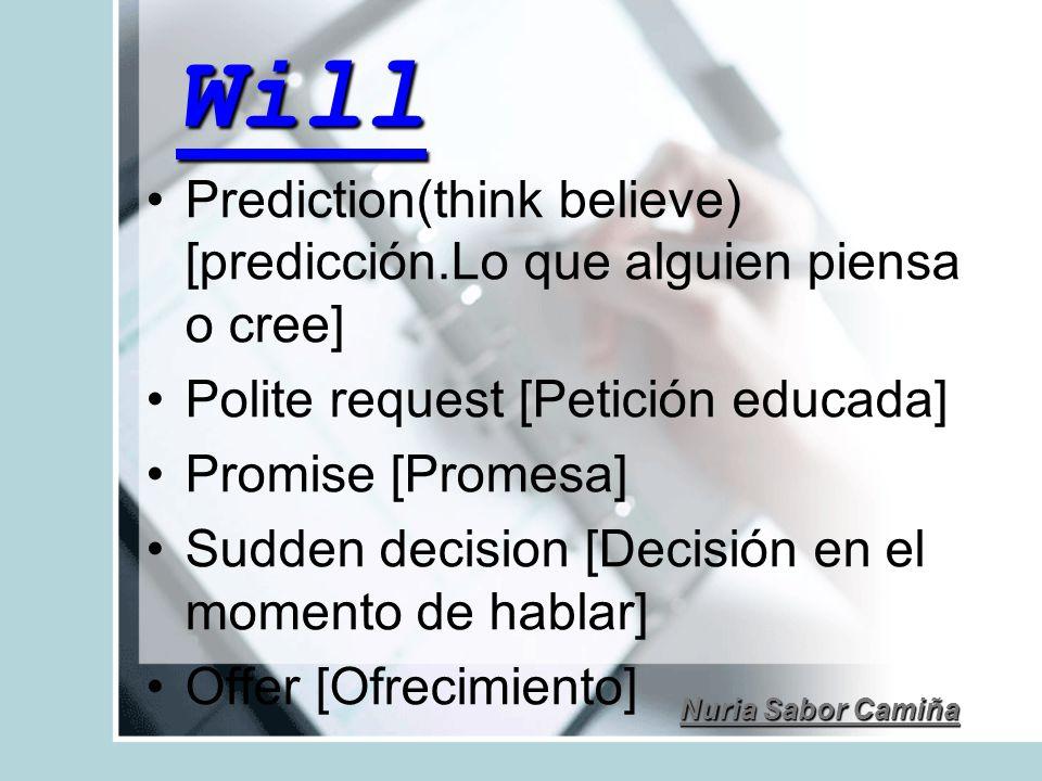 Will Prediction(think believe) [predicción.Lo que alguien piensa o cree] Polite request [Petición educada]